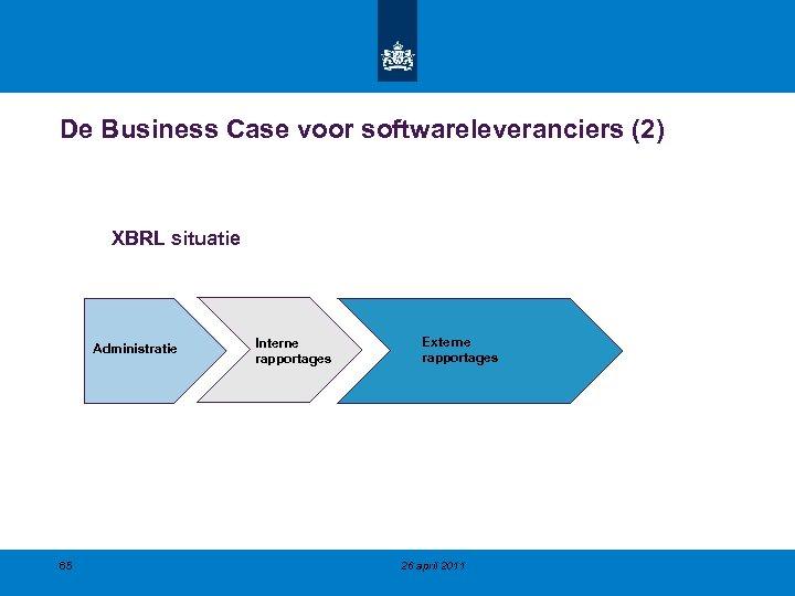 De Business Case voor softwareleveranciers (2) XBRL situatie Administratie 65 Interne rapportages Externe rapportages