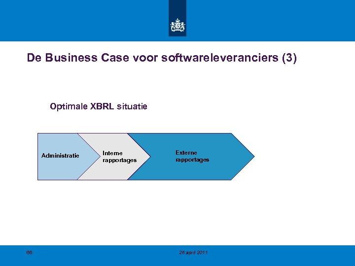 De Business Case voor softwareleveranciers (3) Optimale XBRL situatie Administratie 66 Interne rapportages Externe