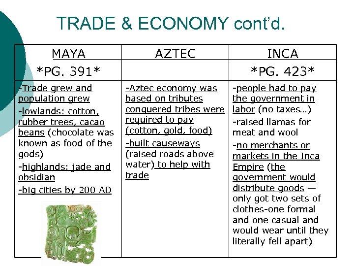 TRADE & ECONOMY cont'd. MAYA *PG. 391* AZTEC INCA *PG. 423* -Trade grew and