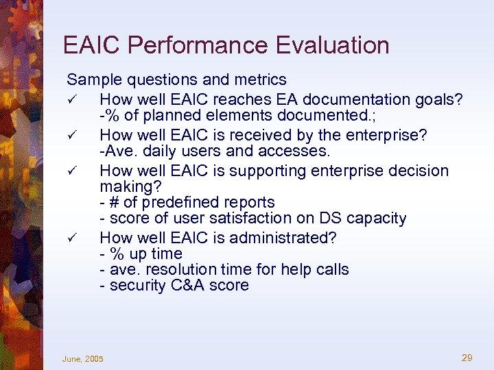 EAIC Performance Evaluation Sample questions and metrics ü How well EAIC reaches EA documentation