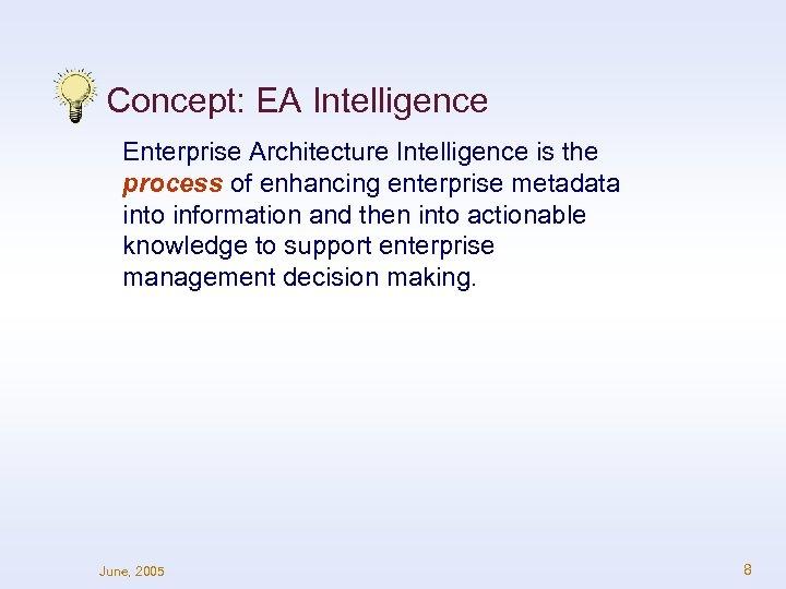 Concept: EA Intelligence Enterprise Architecture Intelligence is the process of enhancing enterprise metadata into