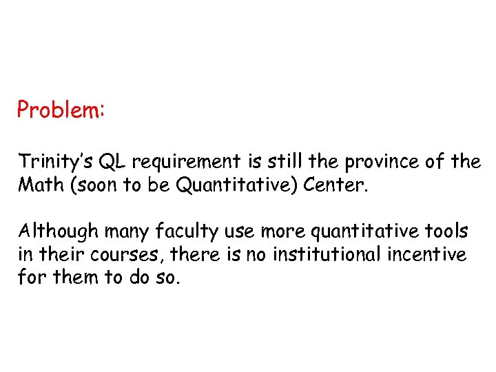 Problem: Trinity's QL requirement is still the province of the Math (soon to be