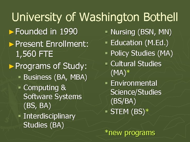 University of Washington Bothell ► Founded in 1990 ► Present Enrollment: 1, 560 FTE