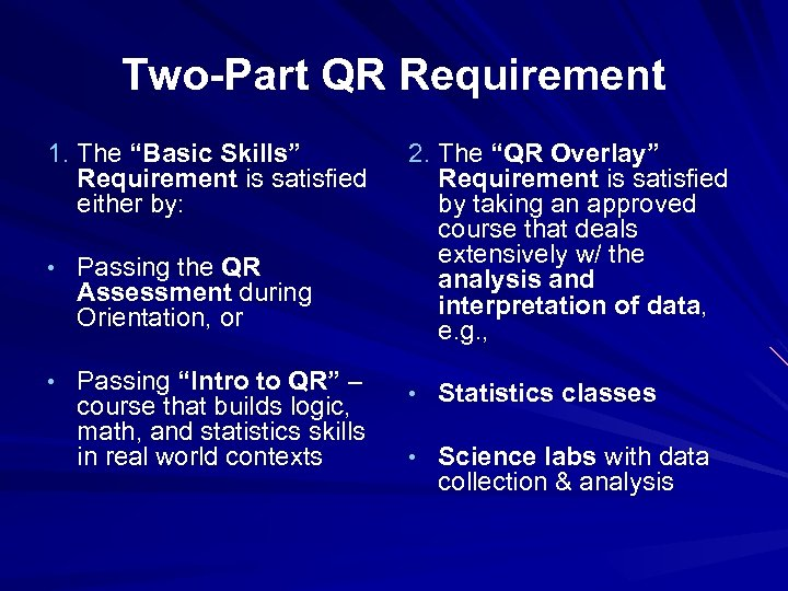 "Two-Part QR Requirement 1. The ""Basic Skills"" Requirement is satisfied either by: • Passing"