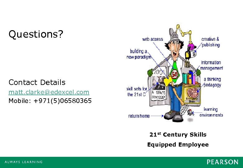 Questions? Contact Details matt. clarke@edexcel. com Mobile: +971(5)06580365 21 st Century Skills Equipped Employee