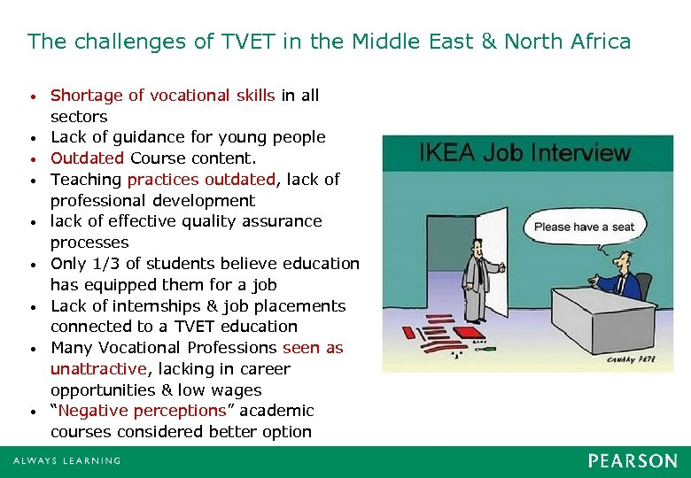 The challenges of TVET in the Middle East & North Africa • • •