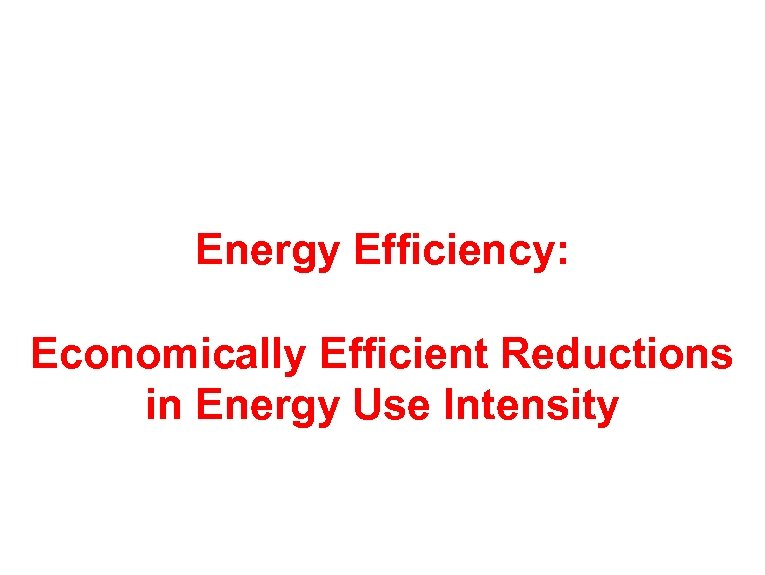 Energy Efficiency: Economically Efficient Reductions in Energy Use Intensity