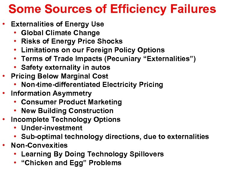 Some Sources of Efficiency Failures • Externalities of Energy Use • Global Climate Change