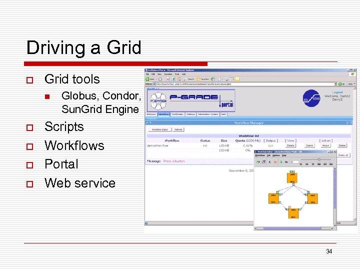 Driving a Grid o Grid tools n o o Globus, Condor, Sun. Grid Engine