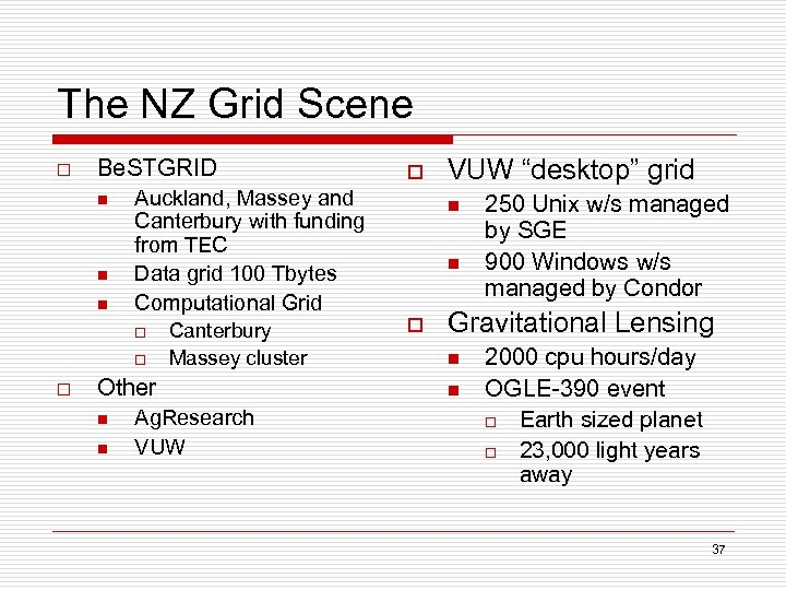 The NZ Grid Scene o Be. STGRID n n n Auckland, Massey and Canterbury