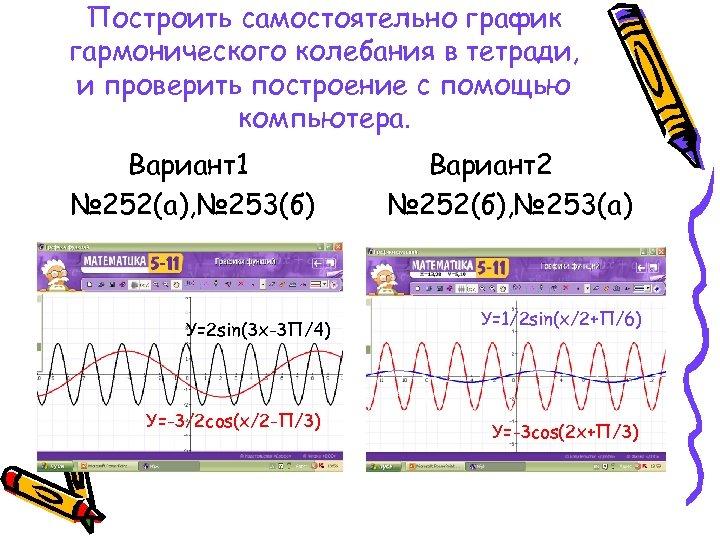 Построить самостоятельно график гармонического колебания в тетради, и проверить построение с помощью компьютера. Вариант1