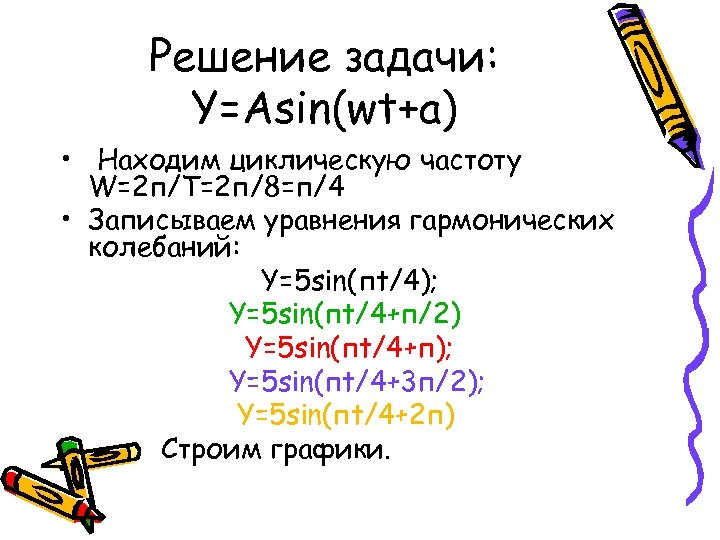 Решение задачи: Y=Asin(wt+a) • Находим циклическую частоту W=2 п/Т=2 п/8=п/4 • Записываем уравнения гармонических