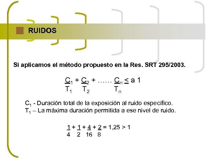 RUIDOS Si aplicamos el método propuesto en la Res. SRT 295/2003. C 1 +