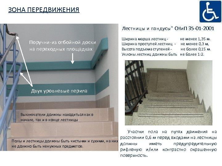 ЗОНА ПЕРЕДВИЖЕНИЯ Лестницы и пандусы