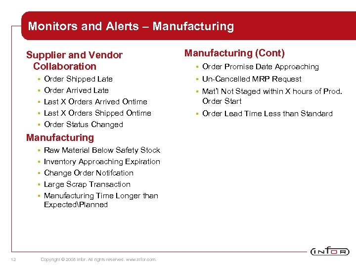 Monitors and Alerts – Manufacturing Supplier and Vendor Collaboration § § § Order Shipped