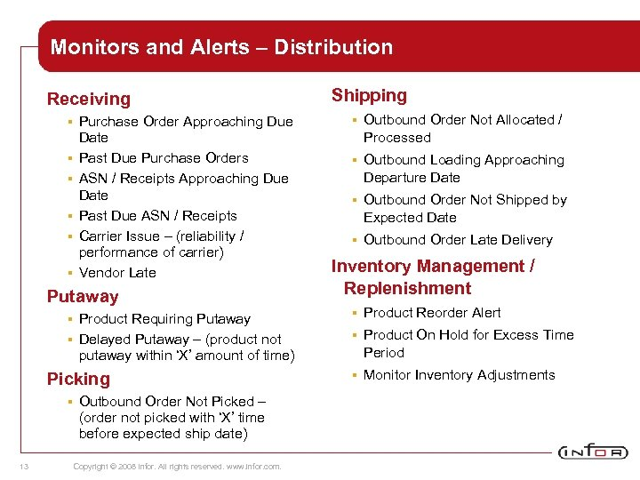 Monitors and Alerts – Distribution Receiving § § § Purchase Order Approaching Due Date