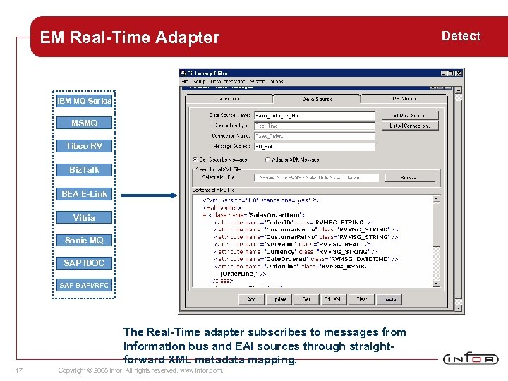 EM Real-Time Adapter IBM MQ Series MSMQ Tibco RV Biz. Talk BEA E-Link Vitria