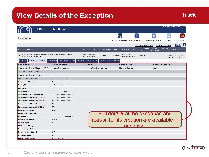 View Details of the Exception Full details of the exception and reason for its