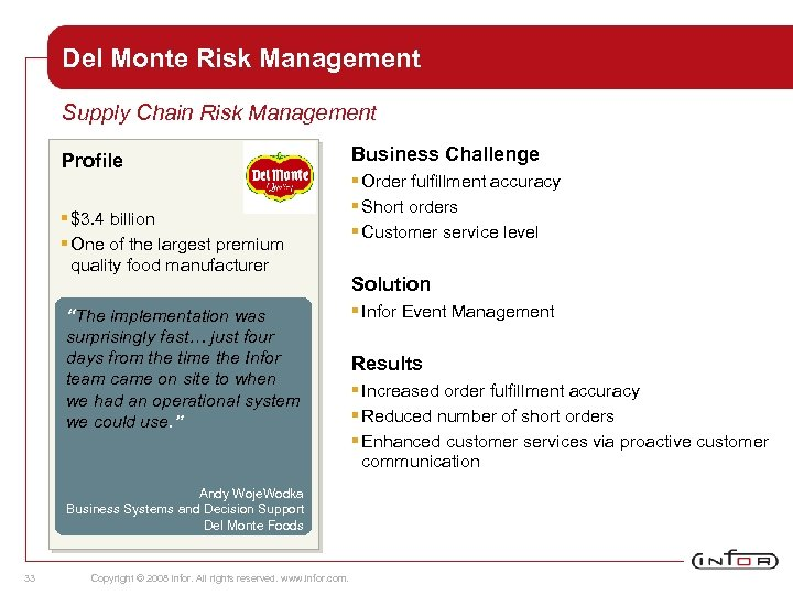Del Monte Risk Management Supply Chain Risk Management Profile § $3. 4 billion §
