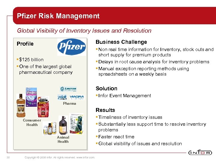 Pfizer Risk Management Global Visibility of Inventory Issues and Resolution Business Challenge Profile §