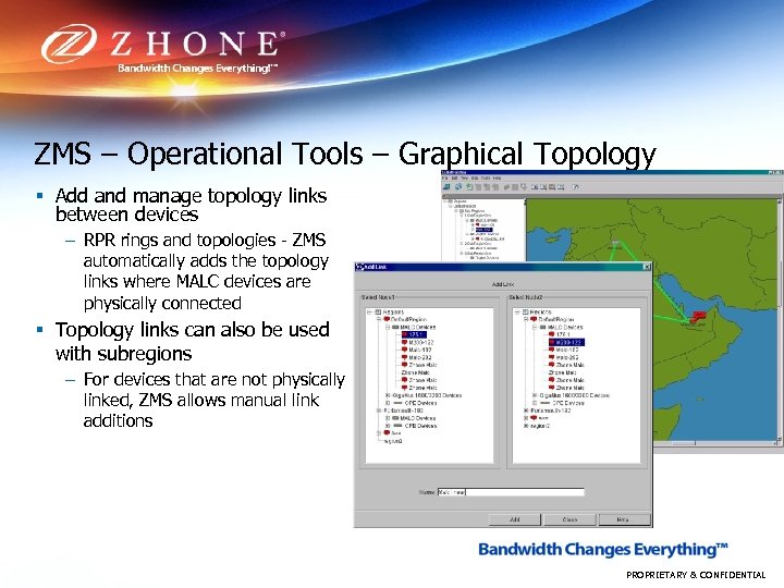 ZMS – Operational Tools – Graphical Topology § Add and manage topology links between