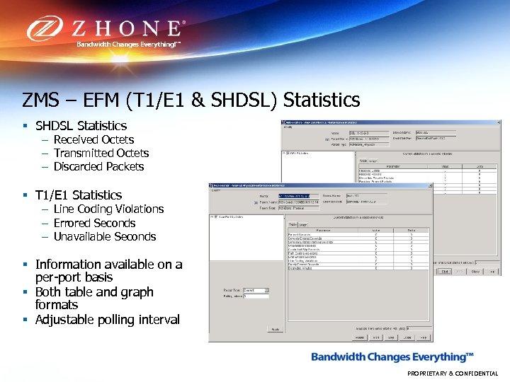 ZMS – EFM (T 1/E 1 & SHDSL) Statistics § SHDSL Statistics – Received