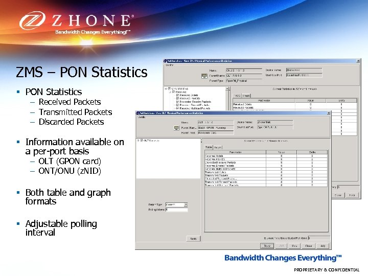 ZMS – PON Statistics § PON Statistics – Received Packets – Transmitted Packets –
