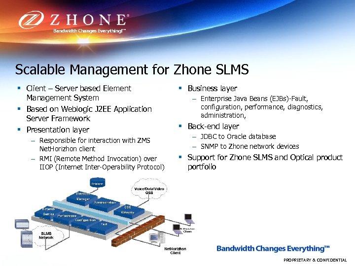 Scalable Management for Zhone SLMS § Client – Server based Element Management System §