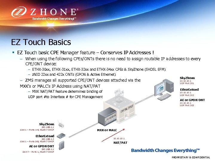 EZ Touch Basics § EZ Touch basic CPE Manager feature – Conserves IP Addresses