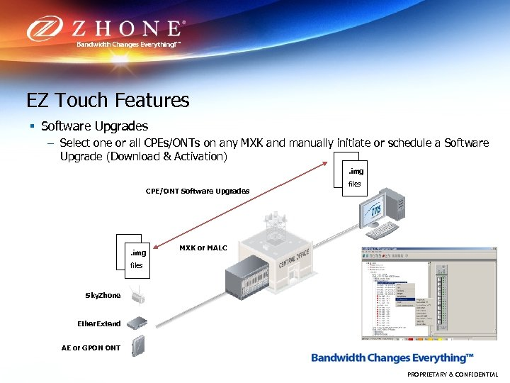 EZ Touch Features § Software Upgrades – Select one or all CPEs/ONTs on any