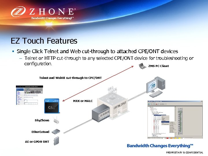 EZ Touch Features § Single Click Telnet and Web cut-through to attached CPE/ONT devices