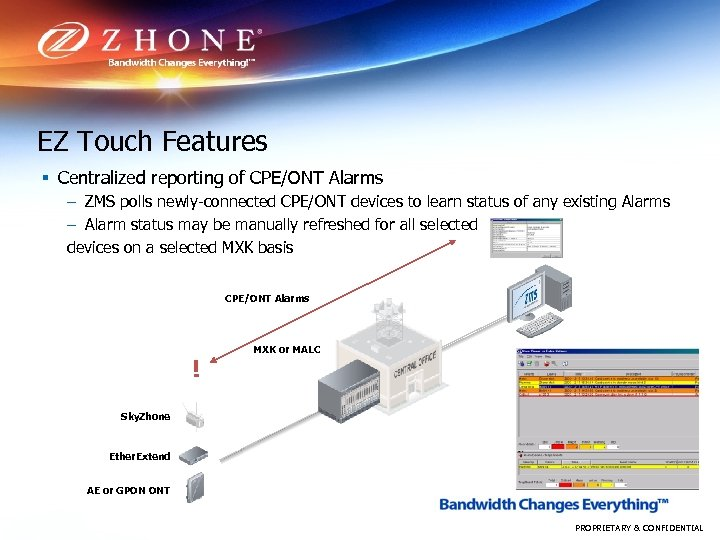 EZ Touch Features § Centralized reporting of CPE/ONT Alarms – ZMS polls newly-connected CPE/ONT