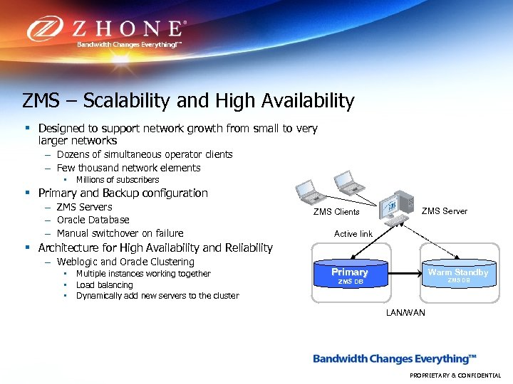 ZMS – Scalability and High Availability § Designed to support network growth from small