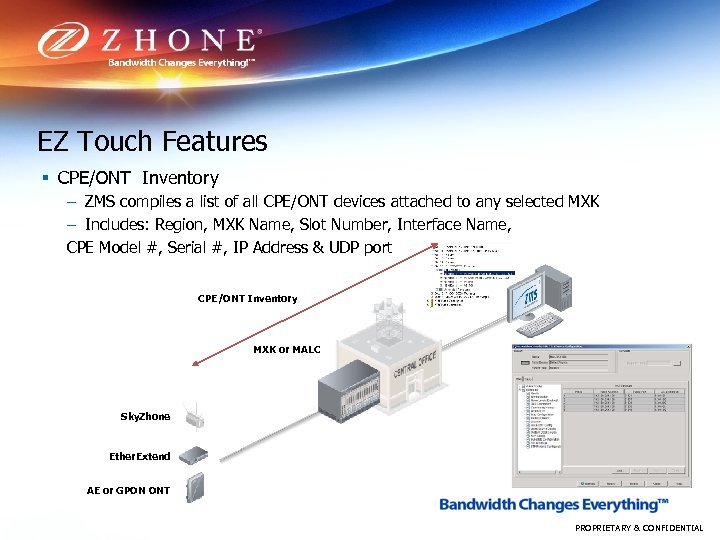 EZ Touch Features § CPE/ONT Inventory – ZMS compiles a list of all CPE/ONT