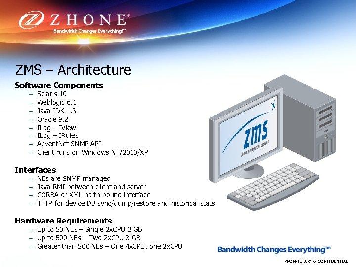 ZMS – Architecture Software Components – – – – Solaris 10 Weblogic 6. 1