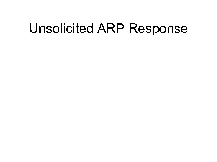 Unsolicited ARP Response