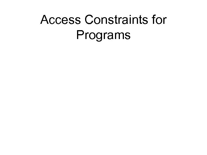 Access Constraints for Programs