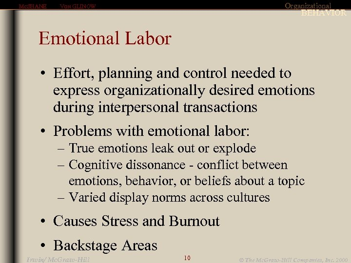 MCSHANE Organizational VON GLINOW BEHAVIOR Emotional Labor • Effort, planning and control needed to