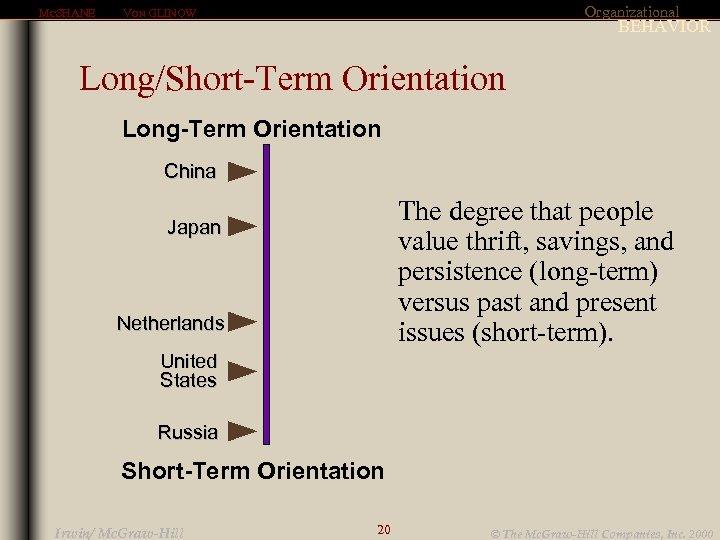 MCSHANE Organizational VON GLINOW BEHAVIOR Long/Short-Term Orientation Long-Term Orientation China The degree that people