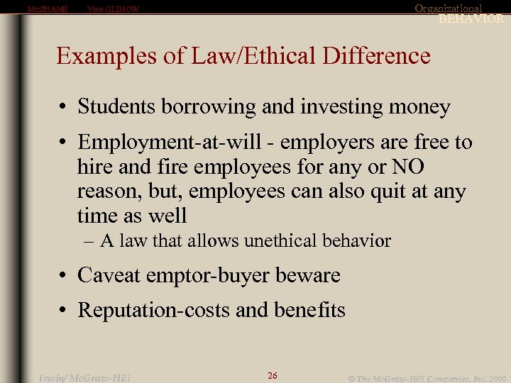 MCSHANE Organizational VON GLINOW BEHAVIOR Examples of Law/Ethical Difference • Students borrowing and investing