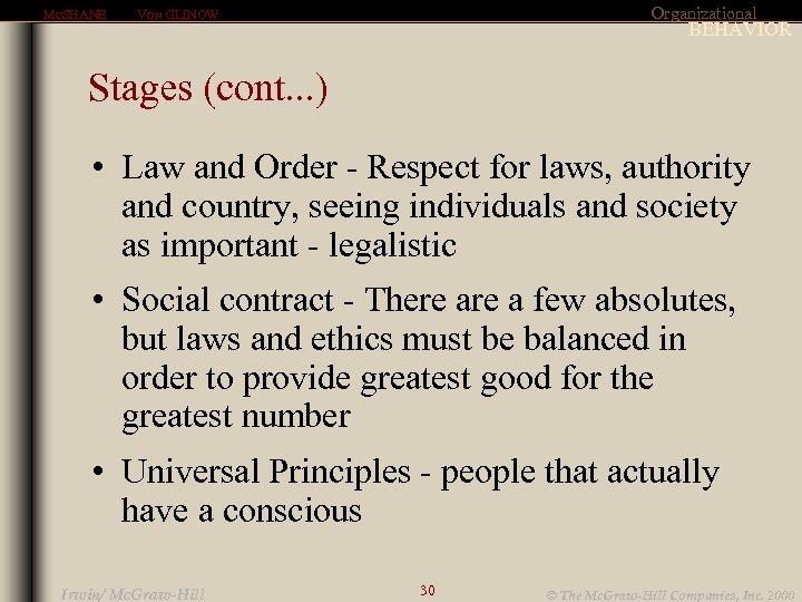 MCSHANE Organizational VON GLINOW BEHAVIOR Stages (cont. . . ) • Law and Order