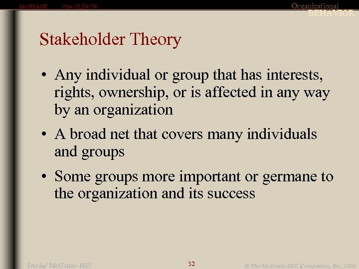 MCSHANE Organizational VON GLINOW BEHAVIOR Stakeholder Theory • Any individual or group that has