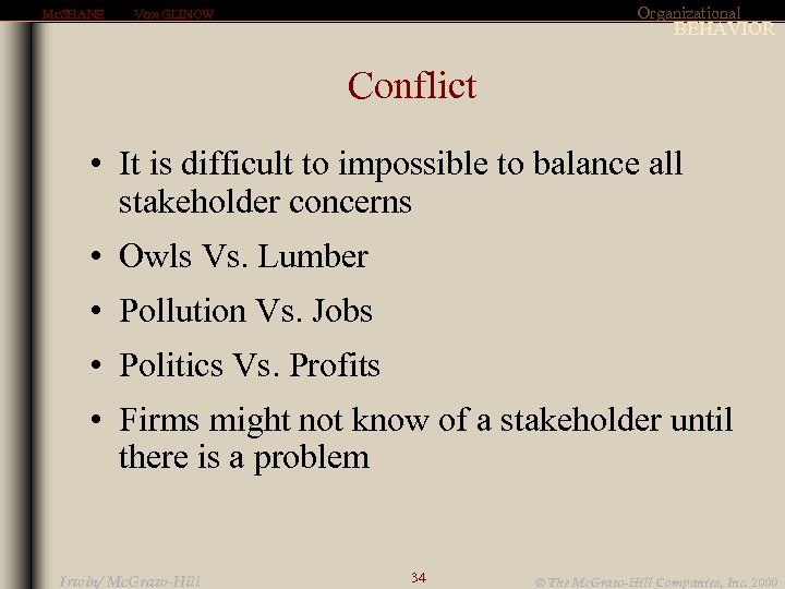MCSHANE Organizational VON GLINOW BEHAVIOR Conflict • It is difficult to impossible to balance
