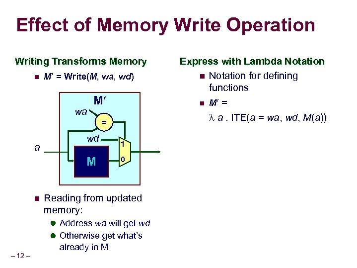 Effect of Memory Write Operation Writing Transforms Memory n M = Write(M, wa, wd)