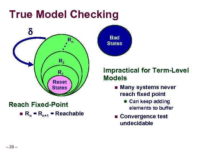 True Model Checking Bad States • • • Rn R 2 R 1 Reset