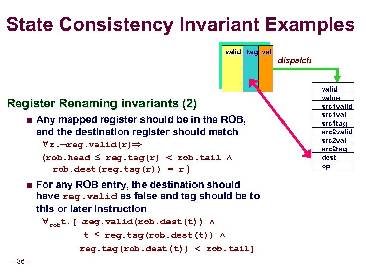 State Consistency Invariant Examples valid tag val Register Renaming invariants (2) n Any mapped