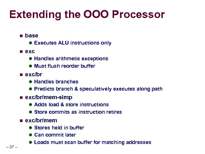 Extending the OOO Processor n base l Executes ALU instructions only n exc l