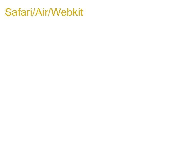 Safari/Air/Webkit Fixed but still interesting: 1. Xframe __define. Getter__ on 1. 2. 3. 4.