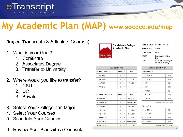 My Academic Plan (MAP) (Import Transcripts & Articulate Courses) 1. What is your Goal?