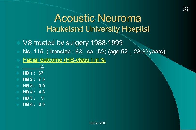 32 Acoustic Neuroma Haukeland University Hospital l VS treated by surgery 1988 -1999 No.